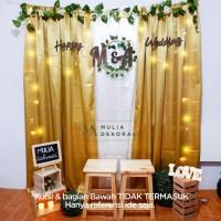Dekorasi Lamaran Backdrop Nikahan Satin Gold PhotoBooth DIY Akad Nikah