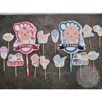 Cake Cupcake Topper Kue Baby Shower Boy Girl Bayi