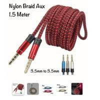 Nylon Braid Kabel AUX 1.5 Meter Jack 3.5mm Good Sound Build Quality