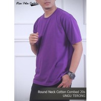 Kaos Polos Cotton Combed 20s Warna Ungu Terong