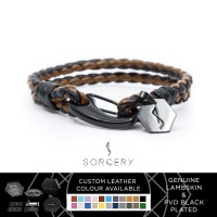SORCERY Genuine Leather Gelang Kulit Asli 18K REALGOLD Pria Wanita