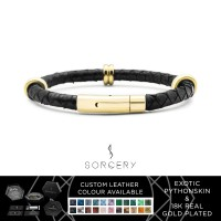 SORCERY Bracelet 18K REAL GOLD Gelang Kulit Asli Pria Wanita BSK1-G1