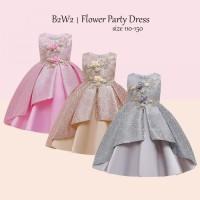 Gaun Pesta Anak Perempuan/ Dress Satin Mewah / Baju Ultah Party Import