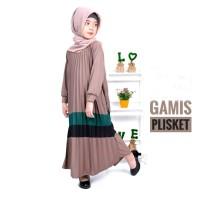 Baju Gamis Anak Perempuan Muslim Syar'i Murah -Pakaian Dress Plisket B