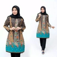 baju batik wanita tunik Prada big size - Hijau, all size