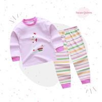 Piyama Baju Tidur Anak Katun Organik Premium Import - Swan Queen SL05 - S
