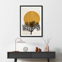 Lukisan Dinding Winter Morning - Frame Black Fiber+Matte - 40x60