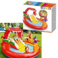 Intex Happy Dino Play Center Splash Kolam Perosotan Karet Renang Anak