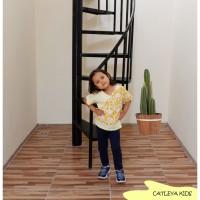 Baju Atasan Batik Anak Perempuan Hebras Series Kuning motif Kalimantan