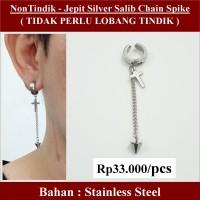 Anting NON Tindik - Jepit Silver Salib Chain Spike