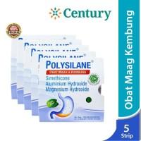 ( 5 Strip )Polysilane Tablet / Obat Maag / Masuk Angin / asam lambung