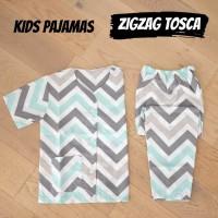 Baju Tidur Anak / Piyama Anak Katun Cowok Cewek Zig Zag Tosca