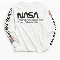KAOS BAJU LENGAN PANJANG HNM H&M NASA USA COMBED 30S PRIA WANITA