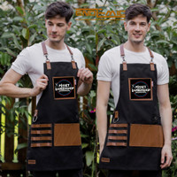 Full apron kanvas & synthetic leather Y Strep for barberman/barista