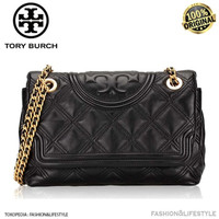 Tory Burch Fleming Soft Leather Convertible Bag Black Original 100%