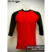 Kaos Polos Raglan 3/4 Cotton Combed 20s Merah - Hitam