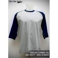 Kaos Polos Raglan 3/4 Cotton Combed 20s Abu Misty Muda - Biru Dongker