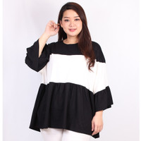 Blouse Jumbo Wanita Super Big Size Kaos Lengan Terompet 4XL Vanya - Hitam