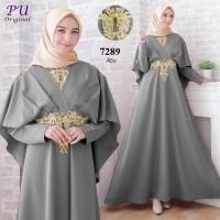 Baju gamis pesta muslimah dress wanita bordir emas gamis mewah bagus