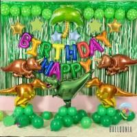 SET Premium Balon Foil Birthday Dinosaurus | Dekorasi Ulang Tahun