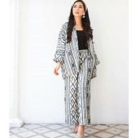 setelan batik wanita celana kulot outer blazer ethnic tenun AT001