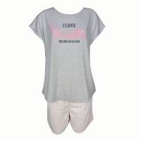 Young Curves CW Cotton Top & Shorts C01-S00843GRY