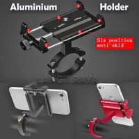 V1 Aluminium Holder HP Stang Sepeda Motor Bracket Dudukan Handphone