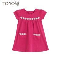 Torio Flower Lace Dress - Baju Dress Anak Perempuan - Merah, 1-2 tahun