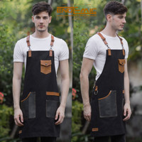 Full apron Full cotton & synthetic leather for barista Y strep leather