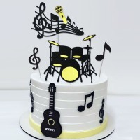 Hiasan Kue Toppers Ulang Tahun Gitar Guitar Set Cake Topper