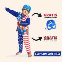 Baju Kostum Setelan Anak Captain America Karakter Superhero - 1-2 Tahun