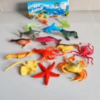 Mainan Hewan Laut Sea Animal Karet Sedang - Set Binatang Laut 12 pcs
