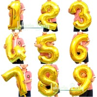 Balon Angka Gold JUMBO 80 cm / Balon foil angka besar / Balon angka