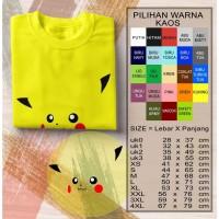 kaos Shirt Pikachu Pokemon Anak dan Dewasa 20s Combed