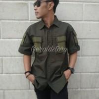 Baju Kemeja Pria Tactical Army Seragam PDL Outfit Atasan TNI Hijau
