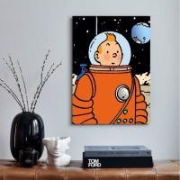 Poster Kayu Tintin Astronaut Ukuran 20Cm x 30Cm