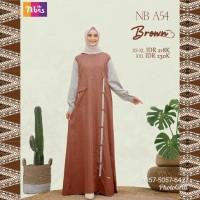 Gamis Nibras NB A54 Warna Coklat Brown Busui Baju Daily Dress Terbaru