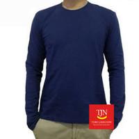 Baju Kaos Polos Lengan Panjang - Biru Dongker atau Navy Blue - M