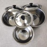 1 Set Baskom Mangkok Dapur isi 3 Stainless Steel Tutup Tutupan Cuci