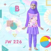Baju Renang Panjang Anak Perempuan Muslim Jilbab JW 226 Ungu Unicorn