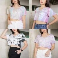 Kaos Wanita Atasan crop tee dye shirt crop t shirt Yerika
