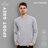 Kaos Polos KALOSTEE Premium 100% Cotton Lengan Panjang -Sport Grey BIG