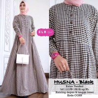 Baju Gamis Wanita Terbaru Motif Kotak/Baju Muslim Kekinian - Hitam