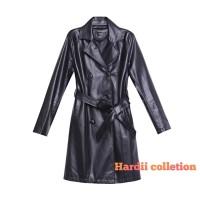 jaket long coat wanita / jubah wanita musim gugur - Hitam