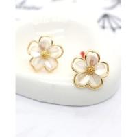 LRC Anting Tusuk Fashion Flowers Resin Flower Alloy Earrings K70559