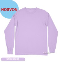 UNGU MUDA Hosvon Kaos Polos Lengan Panjang Katun Combed Size M-XXL