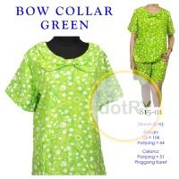 S15 Setelan Baju Tidur Batik Celana Pendek Kerah Pita