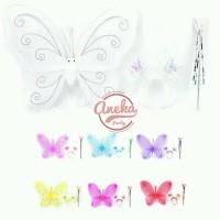 sayap peri 3 in 1 / sayap peri mainan bando tongkat / fairy crown set