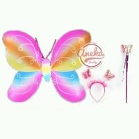 sayap peri 3 in 1 rainbow / sayap peri bando tongkat / fairy crown set