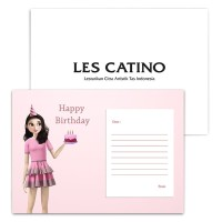 Les Catino Kartu Ucapan Happy Brithday Pink